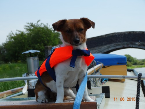 sporting her lifejacket