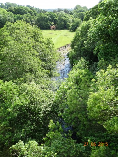 view of the river Ceiriog from the aqueduct