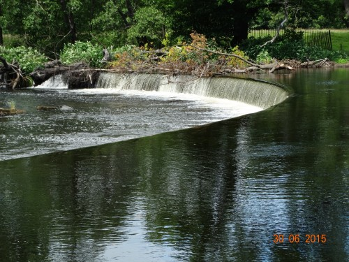 a closer view of the falls. The water is fed down by a valve house that meters the flow of water into the canal