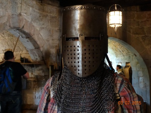 Trying on some very heavy armour..guess who is inside?