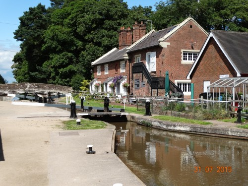 Top of Tyrley locks in the converted wharf buildings