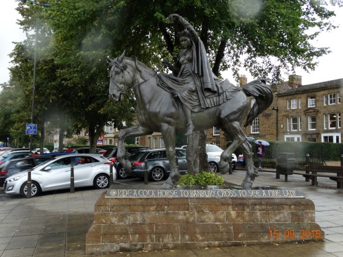 Ride a cock horse to Banbury cross to see a fine lady upon a white horse.