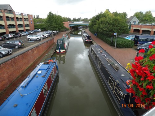 View from the bridge of the very popular quayside moorings. We may stop here on the way back if we can.