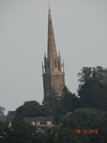 Kings Sutton church spire in the distance seen from our mooring