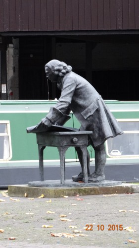 Statue of James Brindley keeping watch over the basin