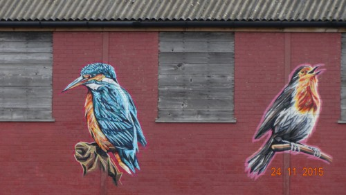 Artwork on a building at Fazeley junction