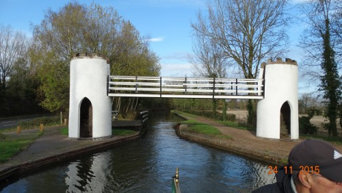 Drayton foot bridge. A folly that links the towpath with the amusement park