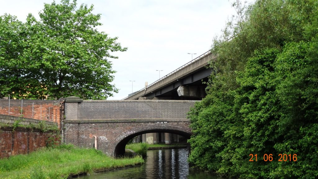 M5 above with an old canal bridge below