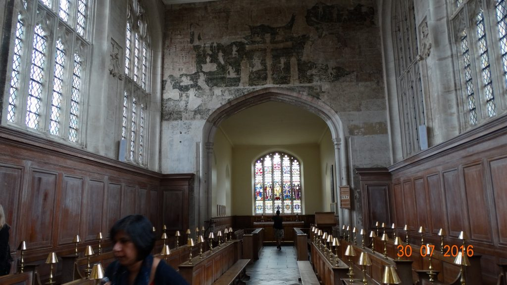 Inside the Guild Hall where Shakespeare would have started his schooling. Note the fresco above the window which was whitewashed over when Henry V111 abolished the catholic faith in order to marry Anne Boleyn. The fresco is now being restored