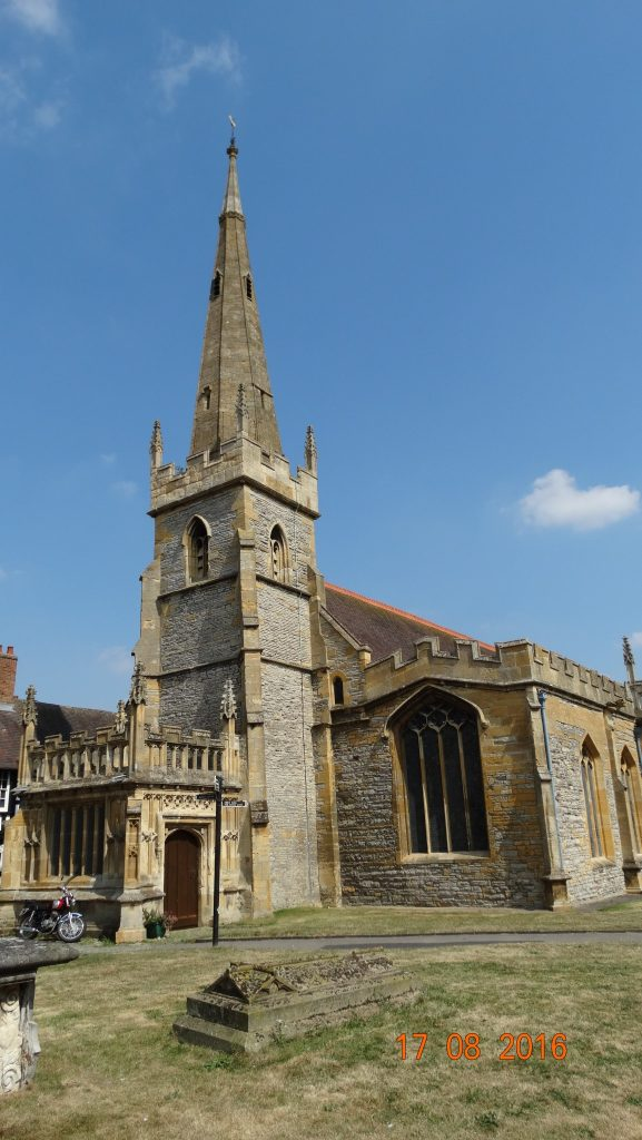 spires of All Saints and St Lawrence's churches, with the Abbey bell tower close by